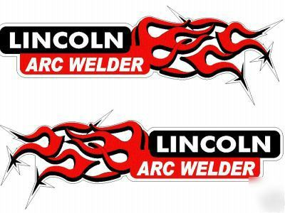 """Lincoln arc welders 1-pair 15"""" decals with red flames"""