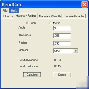 Bend radius calculator metric