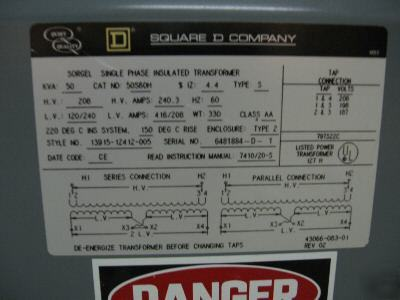 120 208 Single Phase http://www.dontscrapit.com/West-Virginia-/Industrial-/Square-d-50-kva-208V-120-240V-single-phase-transformer.php5